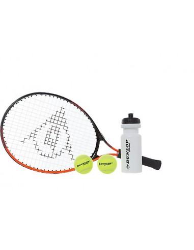 Raqueta Dunlop con pelotas, Botella y Bolso