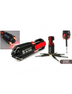 Destornillador multifuncional 8 en 1 con luz, incluye pilas