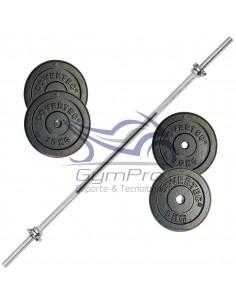 Barra Pre Olímpica + 25 Kg Discos Metalicos DRB