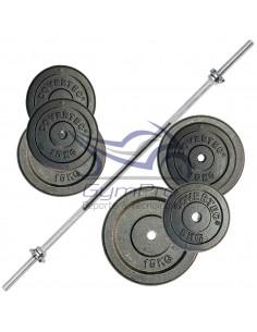 Barra preolímpica + par Barra mancuerna +100 Kg discos de acero